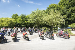 Dorking, UK-July 02, 2017:Motorcycle Enthusiasts meeting at Cafe Stock Photos