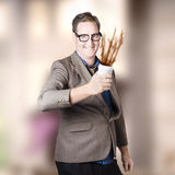 Dorky office guy splashing coffee. Caffeine hit Royalty Free Stock Photos