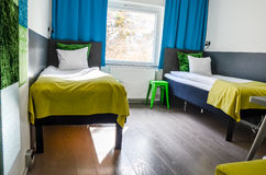 Dorm room interior. A two-person double dorm room with a pretty high standard Stock Photography