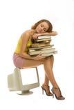 Dorme con i libri Fotografia Stock Libera da Diritti