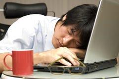 Dormendo sul computer portatile Fotografia Stock