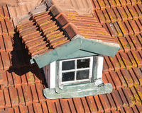 Dormer auf einem alten roten Schindeldach Stockfotografie