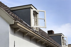Dormer with open window. Old dormer with open window Stock Photos