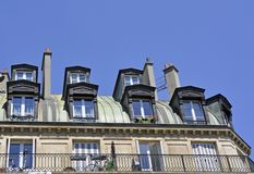 Dormer windows. On a historic building in Paris France Royalty Free Stock Photography