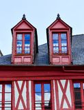 Dormer windows of houses. Josselin, beautiful village of French Brittany royalty free stock photography