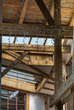 Dormer windows from inside. Architectural detail with old wooden Stock Photos