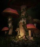 Dormido en el bosque de la seta, 3d CG stock de ilustración