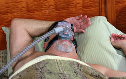 Dorminhoco calmo de CPAP Fotografia de Stock