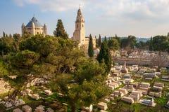 Dormition教会在锡安山,耶路撒冷,以色列的 库存照片
