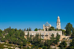 Dormition教会看法在锡安山,耶路撒冷,以色列的 免版税库存照片
