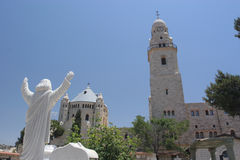 Dormition Abbey,Mount Zion. Religious Statue over looking the Grave Yard on Mount Zion, Jerusalem stock photo