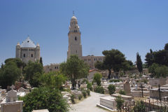 Dormition Abbey,Mount Zion. Religious Statue over looking the Grave Yard on Mount Zion, Jerusalem stock image