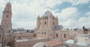 The dormition Abbey in old city Jerusalem stock video footage