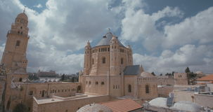 The dormition Abbey in old city Jerusalem stock video