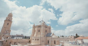 The dormition Abbey in old city Jerusalem stock footage