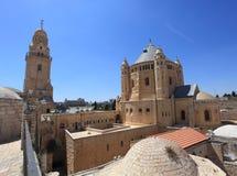 Dormition abbotskloster och Klocka torn, Jerusalem Arkivfoton