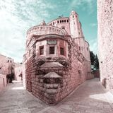 Dormition abbotsklosterkyrka gammal town jerusalem israel royaltyfri foto