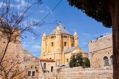 Dormition abbotsklosterkyrka gammal town jerusalem israel fotografering för bildbyråer