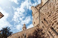 Dormition abbotsklosterkyrka gammal town jerusalem israel arkivfoton