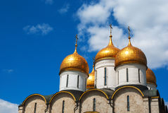 Dormition Cathedral domes at Moscow Kremlin Royalty Free Stock Images