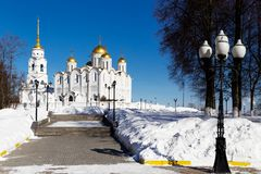 Vladimir city, Russia. Dormition Cathedral. Famous landmark church in Vladimir city, Russia at winter stock photo