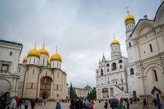 Dormition Cathedral and Ivan the Great Bell-Tower in The Moscow Kremlin, Russia. stock photo