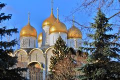 Dormition cathedral of Moscow Kremlin. Color photo. Royalty Free Stock Image