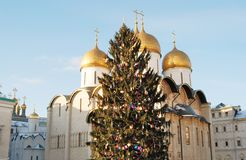 Dormition cathedral of Moscow Kremlin. Color photo. Stock Image