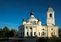 Dormition cathedral myshkin. Russian orthodox The Cathedral of the Dormition in small provincial town Myshkin build 1805-1820 Stock Photos