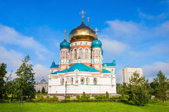 The Dormition Cathedral, Omsk. The Dormition Cathedral (Uspensky or Uspenskiy Sobor) in Omsk is one of the largest churches in Siberia, Russia Royalty Free Stock Photos