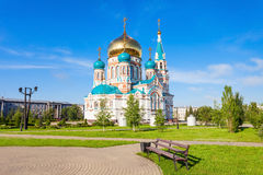 The Dormition Cathedral, Omsk. The Dormition Cathedral (Uspensky or Uspenskiy Sobor) in Omsk is one of the largest churches in Siberia, Russia Stock Image