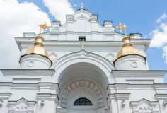 Dormition Cathedral  in Poltava (closeup). Closeup of the baroque front piece of St. Epiphany Cathedral in Poltava Royalty Free Stock Photo