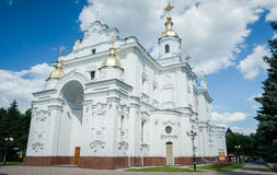 Dormition Cathedral in Poltava. Front of St. Epiphany Cathedral, a piece of Ukrainian baroque architecture on the Sobornaya square in Poltava Royalty Free Stock Images