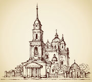Dormition Cathedral, Poltava, Ukraine. Vector sketch. Dormition Cathedral, Poltava, Ukraine. Classical portico with columns at the entrance to the bell tower Royalty Free Stock Image