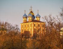 Dormition Cathedral at Ryazan during stunning sunset background. Horizontal orientation vivid vibrant color rich composition design concept element object shape stock images