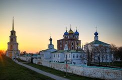 Dormition Cathedral at Ryazan during stunning sunset background. Horizontal orientation vivid vibrant color rich composition design concept element object shape stock photography