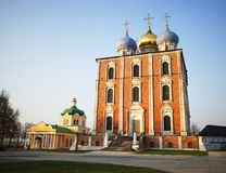 Dormition Cathedral at Ryazan during stunning sunset background. Vertical orientation vivid vibrant color rich composition design concept element object shape stock photography