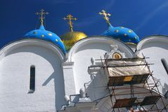 Dormition cathedral in Trinity Sergius Lavra under renovation Royalty Free Stock Images