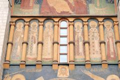 Dormition church facade. Moscow Kremlin. UNESCO World Heritage Site. Stock Images