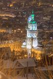 Dormition Church in Lviv at night, Ukraine. Royalty Free Stock Image