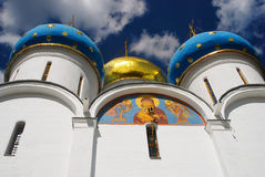 Dormition church. Trinity Sergius Lavra. Low angle view. Royalty Free Stock Image