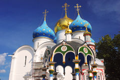 Dormition church in Trinity Sergius Lavra, Sergiev Posad, Russia. UNESCO World Herit Royalty Free Stock Image