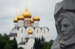 Dormition church and war memorial in Yaroslavl city, Russia Stock Images