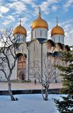 Dormition church in winter. Moscow Kremlin. Color photo. Royalty Free Stock Photography