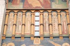 Dormition kyrkafasad kremlin moscow Lokal för Unesco-världsarv Arkivbilder