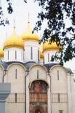 Dormition kyrkliga guld- kupoler kremlin moscow Royaltyfria Foton