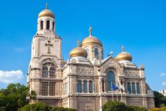 Dormition of the Mother of God is the largest and most famous Bulgarian Orthodox cathedral in Varna, Bulgaria. Varna, Bulgaria - July 10, 2018: Dormition of the stock photo