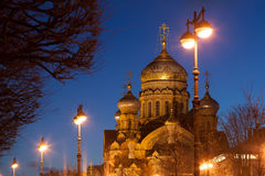 Dormition Orthodox Cathedral on Vasilievsky island in St. Petersburg night Stock Images