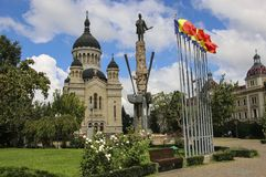 Dormition of the Theotokos Cathedral on Avram Iancu Square, Cluj-Napoca, Romania royalty free stock image