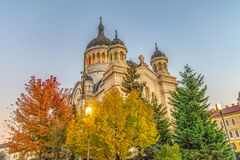 The Dormition of the Theotokos Cathedral at sunset, the most famous Romanian Orthodox church of Cluj-Napoca, Romania. Built in a royalty free stock image